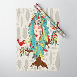 quirky bohemian boho tree, leaves and feather fantasy woman / girl Wrapping Paper
