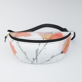 Orange and Peach Delicate Flowers in Watercolor Fanny Pack