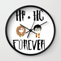hermione Wall Clocks featuring Harry And Hermione Forever by The Lady Derp