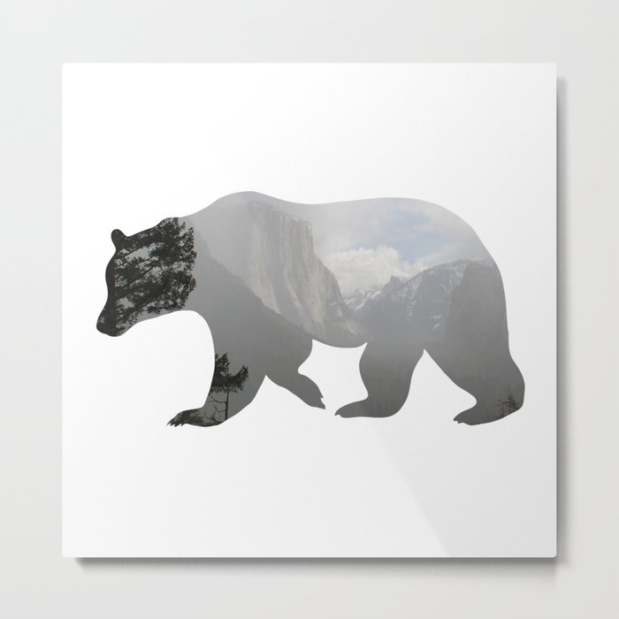 Grizzly Bear with Yosemite Photo Inlay Metal Print