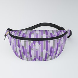 Modern Tabs in Purple and Lavender on Gray Fanny Pack