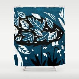Hedgehog - Dark Petrol Blue Palette Shower Curtain