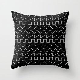 Waves // Black Throw Pillow