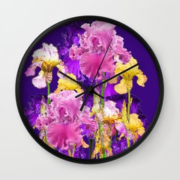 Decorative Contemporary   Pink Yellow & Purple Iris Flowers Wall Clock