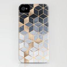 Soft Blue Gradient Cubes Slim Case iPhone (4, 4s)