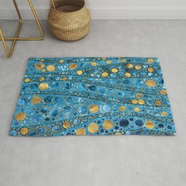 Dot Art Waves - Blue Gemstone and Gold Rug