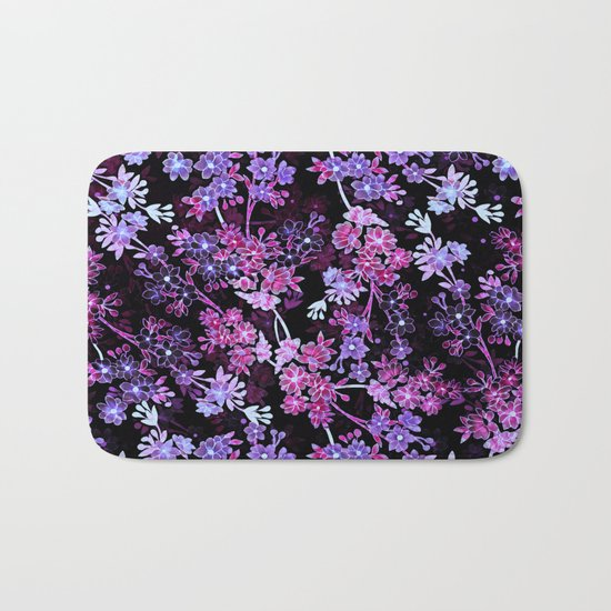 Pink & Purple Floral Pattern Bath Mat