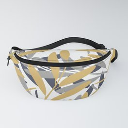 Prints of Leaves, Navy, Gray and Mustard Yellow, Design Prints Fanny Pack