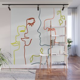 One Line Face Silhouette Drawing Wall Mural