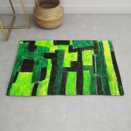 Three Green Puzzle Rug