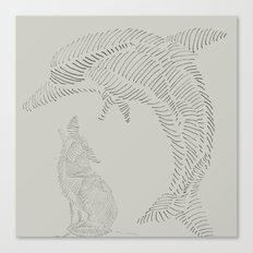dolphin and wolf Canvas Print