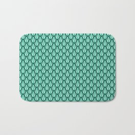 Gleaming Green Metal Scalloped Scale Pattern Bath Mat
