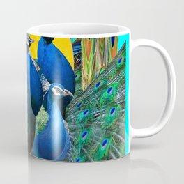 STATELY BLUE PEACOCKS FLOCK Coffee Mug