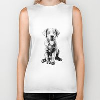puppy Biker Tanks featuring Puppy by Molly Morren