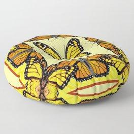 YELLOW & ORANGE MONARCH BUTTERFLIES PATTERNED ART Floor Pillow