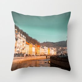 Karlovy Vary cityscape Throw Pillow