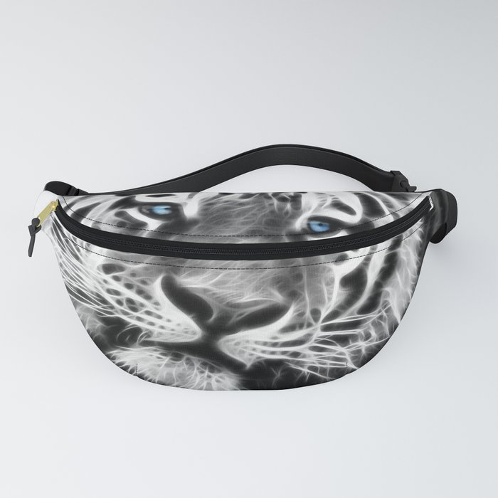 Black and white fractal tiger Fanny Pack