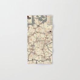 ADAC Autobahn-Karte. 1950 Vintage Map of Autobahn in Germany. Hand & Bath Towel