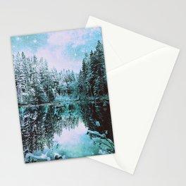 Mint Aqua Winter Wonderland : A Cold Winter's Night Stationery Cards