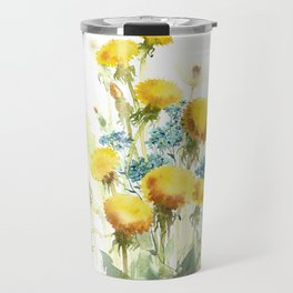 Watercolor flowers of blowball and forget-me-not Travel Mug