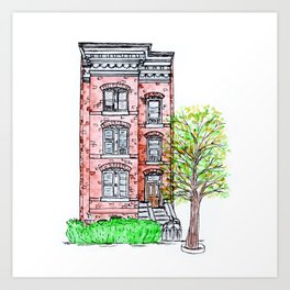 DC Row House No. 3 II Capitol Hill Art Print