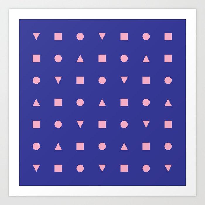 Geometric 80s shapes Art Print