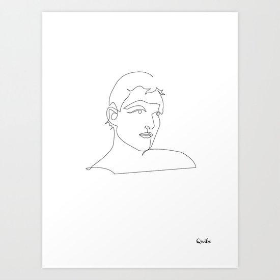 One line Blade Runner Roy Baty (Rutger Hauer) Cocteau style Art Print