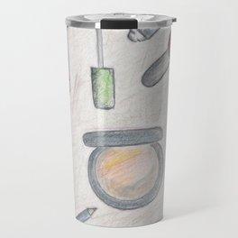 MAKE-UP - pencil and coloured pencil illustration Travel Mug