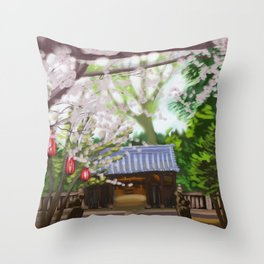 Cherry trees in Japan Throw Pillow