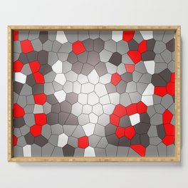 Mosaik grey white red Graphic Serving Tray
