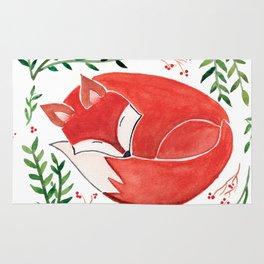 Sleeping Fox Watercolor Paint Rug