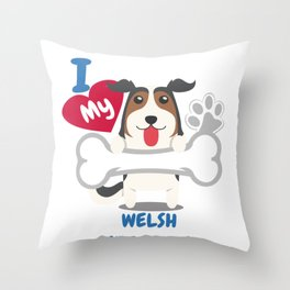 WELSH SHEEPDOG - I Love My WELSH SHEEPDOG Gift Throw Pillow