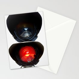 Red Warning Light Of A Railroad Signal Lamp Stationery Cards