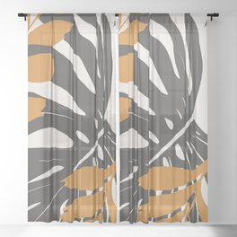 Abstract Monstera 3 Sheer Curtain