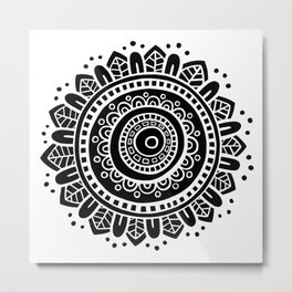 Mandala - White on Black Metal Print
