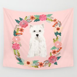Westie floral wreath dog breed pure breed pet portrait Wall Tapestry