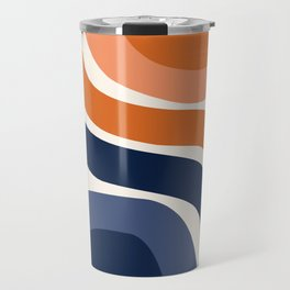 Abstract Shapes 31 in Burnt Orange and Navy Blue Travel Mug