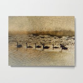 Canada Geese on Golden Pond Metal Print