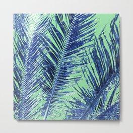 Tropical Palm Blue Metal Print
