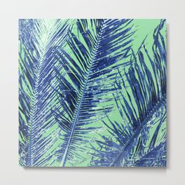 Tropical Palm Blue Metal Print