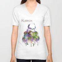 stanley kubrick V-neck T-shirts featuring Kubrick by Zoé Rikardo