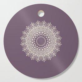 Mandala in Mulberry and White Cutting Board