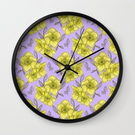 daffodil with purple background Wall Clock