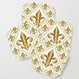 Gold Fleur-de-Lis Pattern Coaster