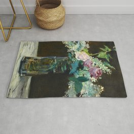 """Édouard Manet """"Vase of White Lilacs and Roses"""" Rug"""