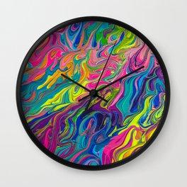 Lisa Frank Inspired Colorful Rainbow Paint Swirls Wall Clock