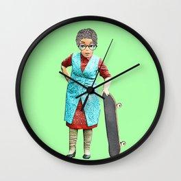 Skateboarding Granny! Quirky Skateboard Design! Wall Clock