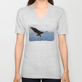 Snowy Flight - Bald Eagle Unisex V-Neck