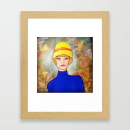 Lady in a yellow hat Framed Art Print