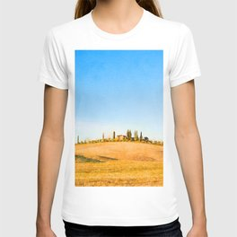 Tuscany landscape watercolor painting T-shirt